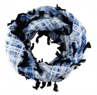 Halstuch in blau weissgrau schwarz gemustert mit Fransen - Tuch Gr. 100 x 100 cm