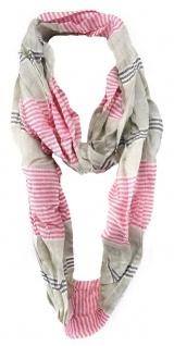 TigerTie Loop Schal in rosa graubeige anthrazit weissgrau - Gr. 170 cm x 50 cm