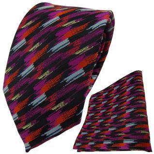 TigerTie Krawatte + Einstecktuch in orange lila silber schwarz gold gestreift