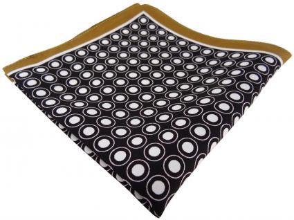 TigerTie Seideneinstecktuch braun schwarz weiss gepunktet - Pochette 100% Seide