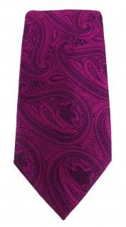 TigerTie Designer Krawatte in magenta beere lila schwarz Paisley gemustert - Vorschau 2