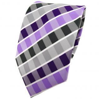 TigerTie Krawatte lila flieder grau anthrazit weiß gestreift - Binder Tie