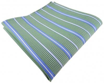 TigerTie Seideneinstecktuch in grün blau silberweiss gestreift - 100% Seide
