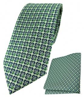TigerTie Designer Krawatte + Einstecktuch in grün silber marine gemustert