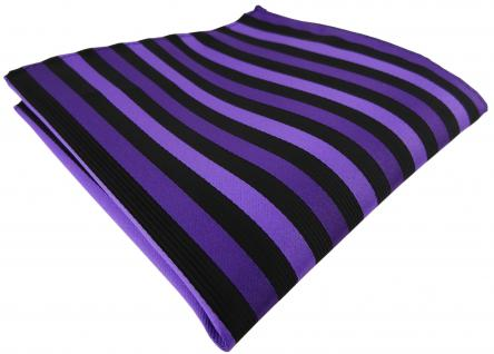 Einstecktuch in lila schwarz gestreift - Tuch Polyester - Gr. 25 x 25 cm
