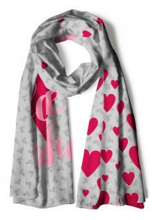 Schal in rot grau rosa mit Schriftzug I love München, Motive Herzen Frauenkirche