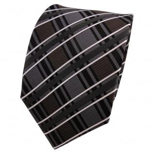 TigerTie Designer Seidenkrawatte anthrazit schwarz braun silber kariert
