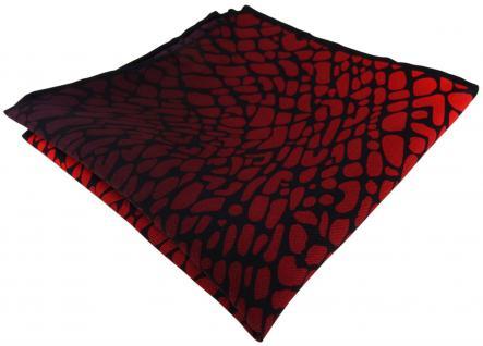 TigerTie Seideneinstecktuch rot bordeaux weinrot schwarz gemustert - 100% Seide