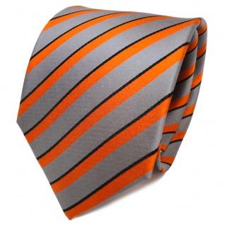 TigerTie Designer Seidenkrawatte orange grau schwarz gestreift - Krawatte Seide