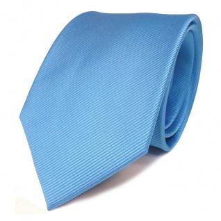 TigerTie Seidenkrawatte blau hellblau babyblau Uni Rips - Krawatte Seide Binder