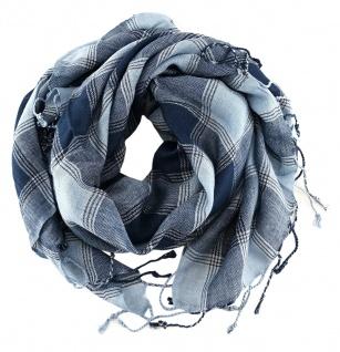 Halstuch in blau marine grau silber kariert mit Fransen - Glitzerfaden eingewebt