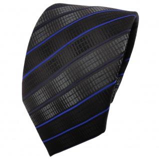 TigerTie Designer Krawatte schwarz anthrazit blau gestreift - Binder Tie