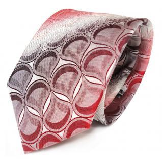 Seidenkrawatte rot weinrot weiss gestreift mit Muster - Krawatte 100% Seide Silk - Vorschau 2