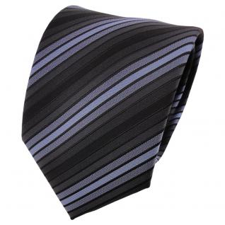 TigerTie Krawatte blau graublau anthrazit schwarz gestreift - Schlips Binder Tie