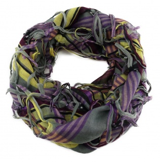 Halstuch lila gelb violett grau schwarz gestreift mit Fransen - Tuch 90 x 90 cm