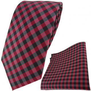 TigerTie Designer Krawatte + Einstecktuch in weinrot anthrazit schwarz kariert