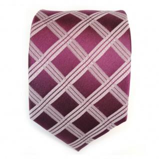 Designer Seidenkrawatte rot purpurrot silber kariert - Krawatte 100 % Seide Silk - Vorschau 3