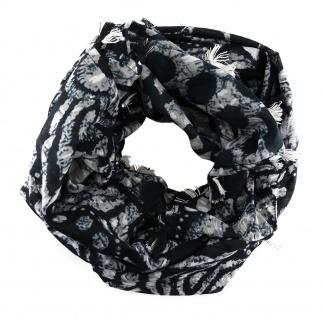 Halstuch in grau schwarz mit Blumenmotiv und Fransen - Gr. 100 x 100 cm
