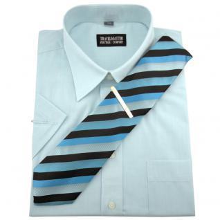 TRAVELMASTER Business Herrenhemd türkis - Hemd Gr.39/40 M kurzarm Krawatte Nadel
