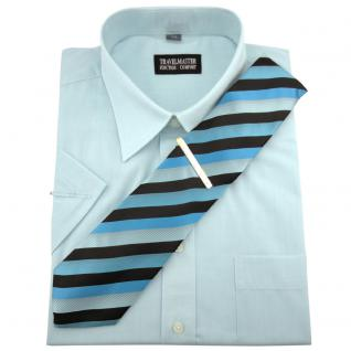 TRAVELMASTER Business Herrenhemd türkis - Hemd Gr.41/42 L kurzarm Krawatte Nadel