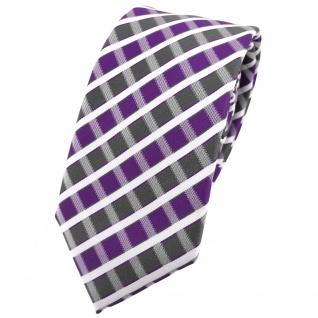 Schmale TigerTie Krawatte violett grau silber weiss gestreift - Schlips Binder