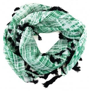 Halstuch in grün grau schwarz gemustert mit Fransen - Tuch Größe 100 x 100 cm