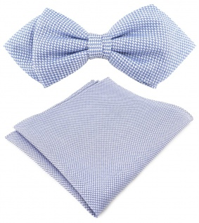 TigerTie Designer Spitzfliege Pique in blau-weiss gemustert + Einstecktuch + Box