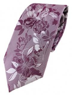 TigerTie Designer Seidenkrawatte in lila violett grau geblümt gemustert