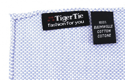 TigerTie Einstecktuch 100% Baumwolle - Pique blau-weiss gemustert - 30 x 30 cm - Vorschau 2