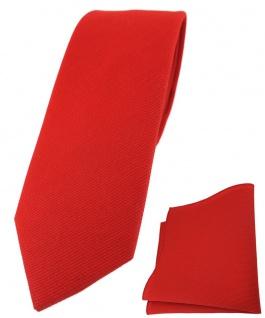 schmale TigerTie Krawatte + Einstecktuch aus 100% Baumwolle in rot verkehrsrot