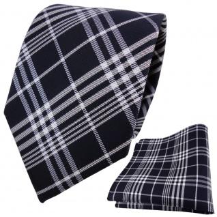 TigerTie Krawatte + Einstecktuch blau schwarzblau silber weiß kariert