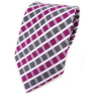 TigerTie Designer Krawatte in magenta silber grau weiss gestreift - Tie Binder