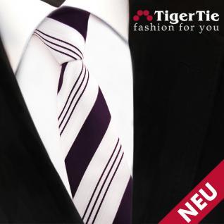 schmale TigerTie Satin Krawatte lila dunkellila weiß silber gestreift - Binder - Vorschau 3