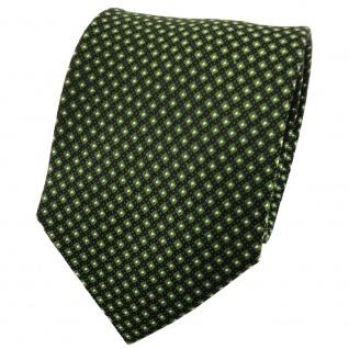 TigerTie Designer Seidenkrawatte grasgrün schwarz silber gepunktet
