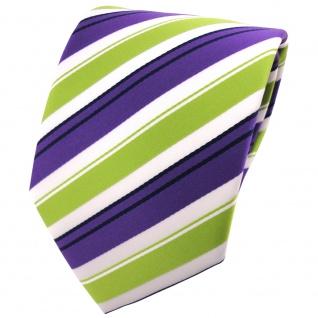 schöne TigerTie Krawatte in lila grün weiss schwarz gestreift - Binder Tie