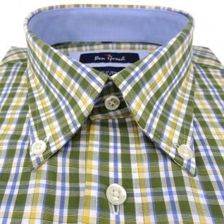 Ben Green Herrenhemd grün weiß kariert langarm bügelleicht - Hemd Gr.41/42 L - Vorschau 2