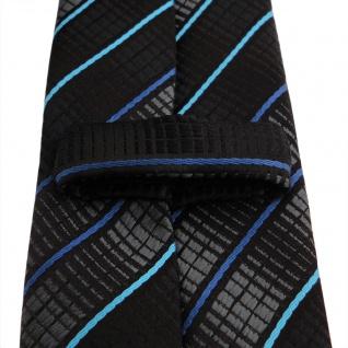 Schmale TigerTie Krawatte schwarz anthrazit türkis blau gestreift - Binder Tie - Vorschau 3