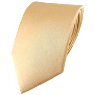 TigerTie Satin Seidenkrawatte in beige gold bronze Uni - Krawatte 100% Seide
