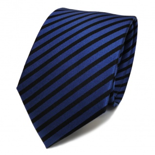 TigerTie Designer Seidenkrawatte blau schwarz royal gestreift