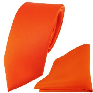 schmale TigerTie Satin Seidenkrawatte + Seideneinstecktuch orange einfarbig Uni