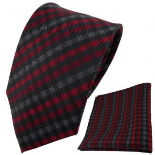 TigerTie Designer Krawatte + Einstecktuch rot anthrazit schwarz gestreift