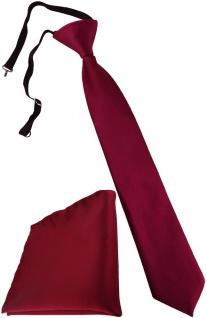 TigerTie Security Sicherheits Krawatte + Einstecktuch bordeaux Uni einfarbig