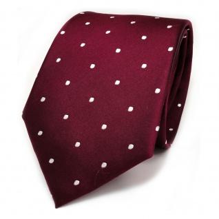 TigerTie Seidenkrawatte rot weinrot bordeauxrot weiß gepunktet - Krawatte Seide