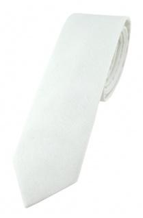 TigerTie - schmale Krawatte in weiss einfarbig - Breite 5, 5 cm - 100% Baumwolle