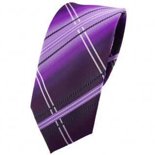 Schmale TigerTie Krawatte lila flieder schwarz silberweiß gestreift - Binder Tie