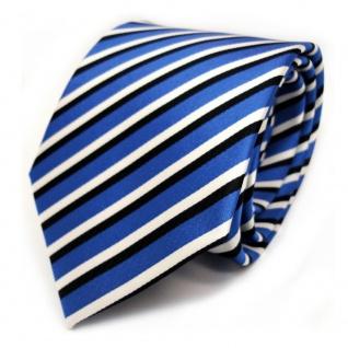 TigerTie Designer Krawatte - Binder blau ultramarin weiss schwarz gestreift