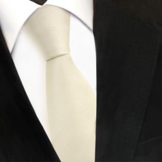 TigerTie Designer Krawatte elfenbein champagner hellbeige Uni Rips - Binder Tie - Vorschau 3
