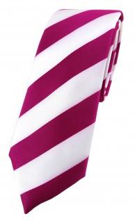 TigerTie - schmale Krawatte in magenta weiss gestreift