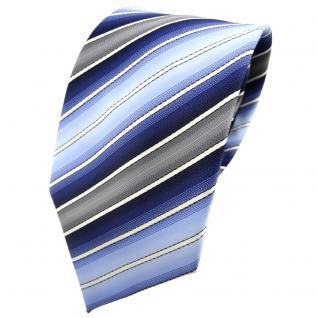 TigerTie Krawatte blau hellblau dunkelblau creme grau gestreift - Binder Tie