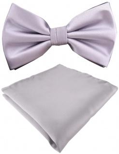 TigerTie Satin Fliege + Einstecktuch in silber Uni einfarbig + Geschenkbox